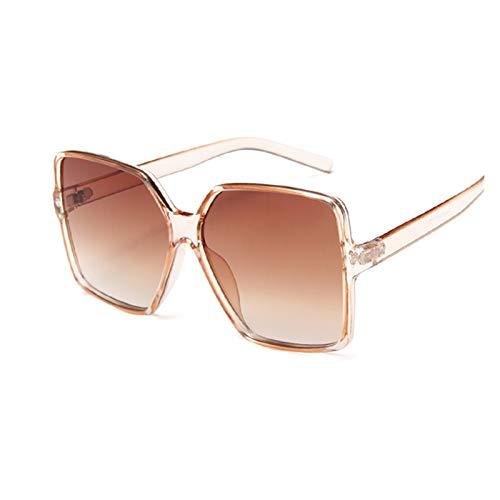 ZHHOOHAG Gafas De Sol Gafas de Sol de Gran tamaño Cuadrado Negro Mujeres Colorido Gafas de Sol Espejo Hembra Unisex gradiente Hip Hop Shades Gafas De Sol Polarizadas (Lenses Color : Champagne)