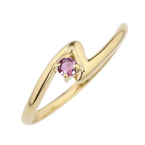 (リュイール) 指輪 レディース 人気 ピンクトルマリン リング 10金 人気 リング 一粒 カラーストーン 誕生石 シンプル k10イエローゴールド サイズ 14号