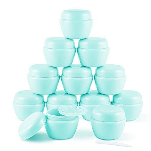 12 Piezas de 50 ml (1,7 oz) de Mini frascos de plástico con Tapas y revestimientos Interiores Recipientes de loción vacíos Recipientes de Crema de Viaje(Verde)