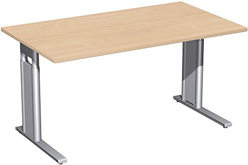 Schreibtisch höhenverstellbar, C Fuß Blende optional, 1400x800x680-820, Buche/Silber, Geramöbel