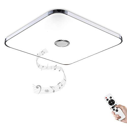 Lámpara de techo LED con mando a distancia, control de aplicación y altavoz Bluetooth, MP3 24 W, cambio de color, estrellas, regulable, blanco cálido y frío, 2800 – 6500 Kelvin 1128