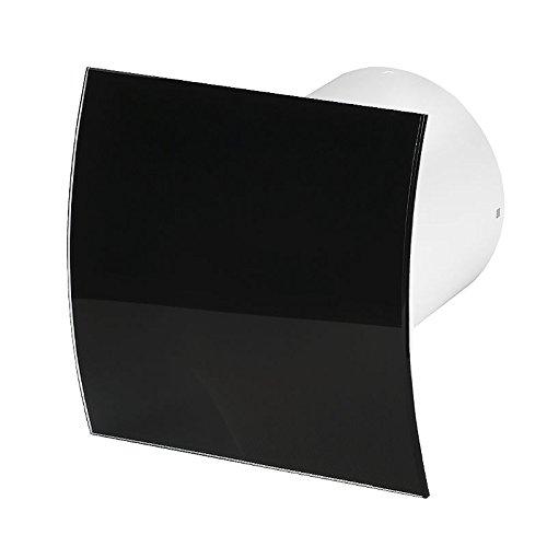 Tyst fläkt 100 mm/4 tum med modern frontpanel kraftfull låg energi tyst fläkt badrum kök toalett KWS100 (svart glas)