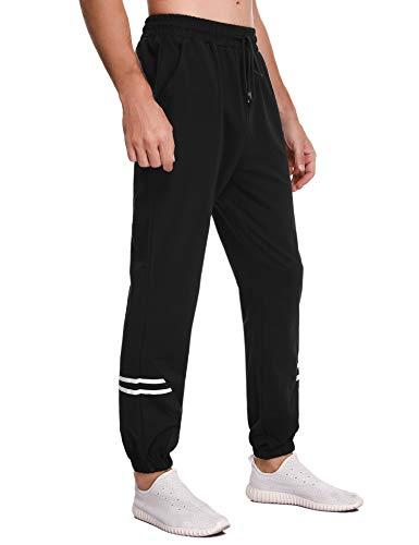 Sykooria Pantaloni Sportivi da Uomo Pantaloni da Jogging con Coulisse Fitness, Pantaloni Cintura Elastica in Cotone con Tasca(a_Nero,L