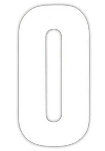 2 Große Nummern für Mülltonnen Selbstklebend Aufkleber Weiße Nummer -0 - Weiß, Weiß