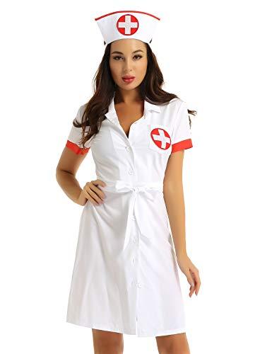 YiZYiF Disfraz Enfermera para Mujer Sexy Uniforme Bata Laboratorio 2Pcs Mini Vestido Sexy Profundo V Ropa de Dormir Lencería Disfraces Halloween Despedida Blanco XXXL