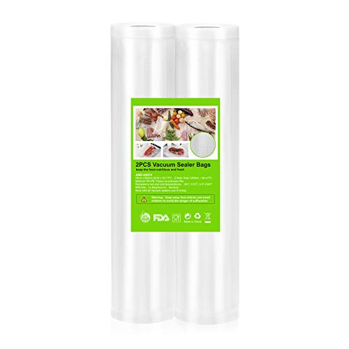 OMBAR Profi- Folienrollen, Vakuumierbeutel 2 Rollen 20 * 600 cm, Für Alle Balken Vakuumierer Vakummiergeräte, Sous Vide, BPA-frei, Kochfest, Wiederverwendbare Vakuumrollen für lebensmittel geeignet