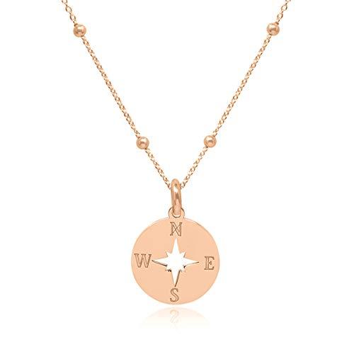 WANDA PLATA Kette Kompass-Anhänger für Junges Mädchen Damen, Echt 925 Silber Rosegold Vergoldet Kompass-Halsketten Windrose Modeschmuck