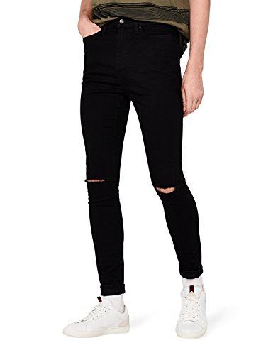 find. Herren Super Skinny Jeans mit Distressed-Look, Schwarz (Black), W33/L30 (Herstellergröße: 33)