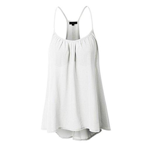Camiseta de tirantes para mujer, tuduz diseño nuevo para mujer verano Sexy sin mangas cuello halter tanque Crop Tops elegante Casual chaleco blusa camiseta Plus Size (S–5x l), Gasa, Blanco, Large