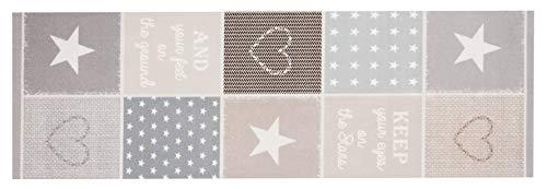 Zala Living Pastel Waschbarer Küchenläufer Küchenteppich Teppichläufer Patchwork (45x140 cm, 100% Polyamid, rutschfest, Fußbodenheizung geeignet), Pastelfarben, Braun/beige