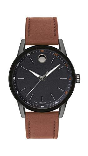 Movado Herren-Armbanduhr Museum Gunmetal mit einem konkaven Punkt Museum Zifferblatt schwarz/braun (Modell 607224)