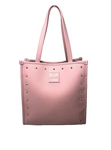 Versace Umhängetasche, quadratisch, mittelgroß, mit abnehmbarem Schulterriemen, Jeans-Couture für Damen, Farbe weiß-rosa-schwarz mit Nieten, Pink - Rosa - Größe: 25 x 26,5 x 11,5 cm
