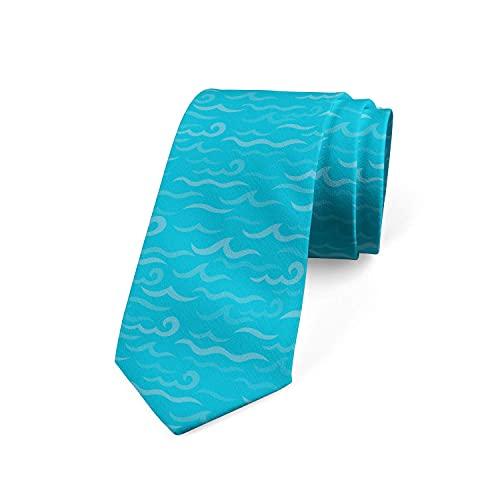 Corbata De Corbata Para Hombre Náutica Azul Monocromática Simple De Olas Deep Ocean Marine Life Love Corbata De Poliéster Suave Para Ropa Formal, Bodas, Bailes De Graduación, Celebraciones, Fiestas