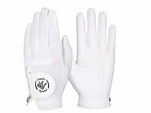 Simple Symbol Men's RainGrip Golf Glove,Hot Wet Weather Comfort,Four Colors,White/Green/Navy Blue/Grey, Left Hand Or Right Hand(White,M,Left)