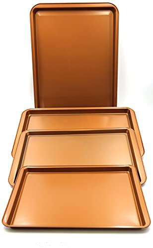 Chef Select Premium Non-Stick Cookie Sheet Set of 4, Sizes 20 x 14-Inches, 17 x 11-Inches, 15 x 10-Inches, 13 x 9-Inches, Heavy Duty Copper Colored Steel