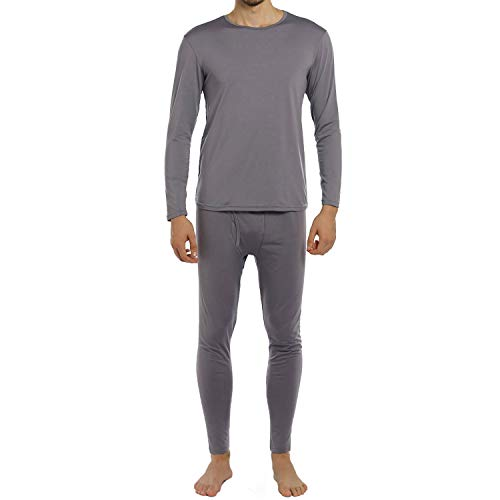 ViCherub Men's Thermal Underwear Set Long Johns with Fleece Lined Base Layer Thermals Sets for Men Grey