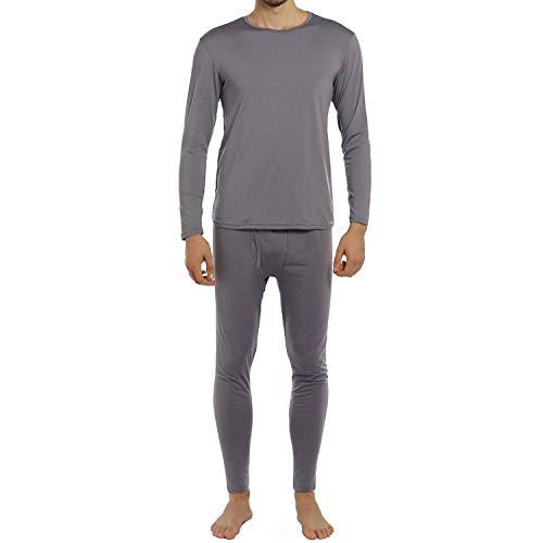 ViCherub Men's Thermal Underwear Set Fleece Lined Long Johns Winter Base Layer Top & Bottom Sets for Men Grey
