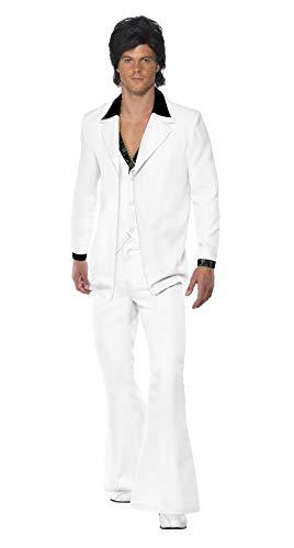 970er Jahre Anzug Kostüm Weiß Jacke mit Mock Hemd Weste mit Hose, X-Large
