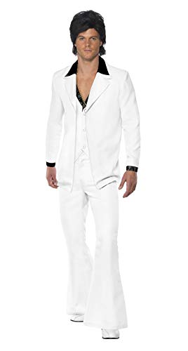 Smiffy'S 39427XL - Disfraz de aos 70s retro para hombre, color blanco, talla XL