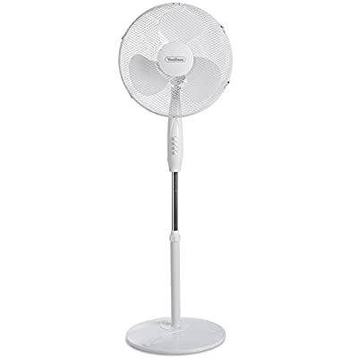 "VonHaus 16"" Pedestal Fan – Electric Floor Standing Cooling Fan – Oscillating/Rotating or Static with 3 Speed Settings - Extendable Height 108-129cm"