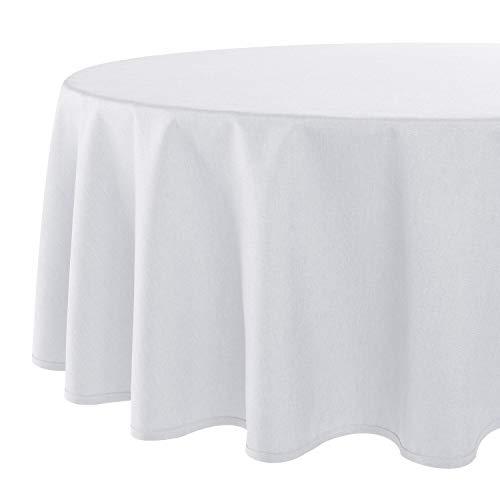 Tischdecke Wien, weiß, 140 cm rund, Fleckschutz, Tischdecke für das ganze Jahr