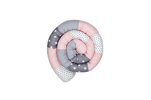 ULLENBOOM ® Baby Bettschlange 300x13 cm Rosa Grau (Made in EU) - Nestchenschlange für das Babybett, Bezug: 100% ÖkoTex Baumwolle, Bettrolle zur Bettumrandung im Kinderbett, Motiv: Sterne