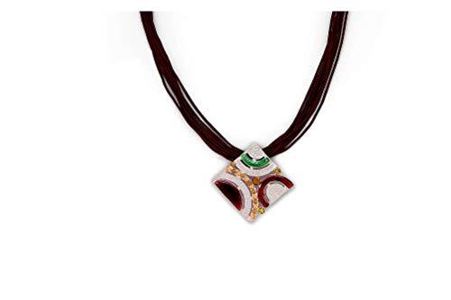 Perlkönig Kette Halskette | Damen Frauen | Silber Schwarz Grün Rot Farben | Quadratischer Anhänger | Nickelabgabefrei