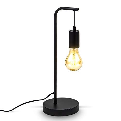 B.K.Licht Lámpara de mesa Retro doblada I E27 I cable con interruptor I 1 llama I metal I negro