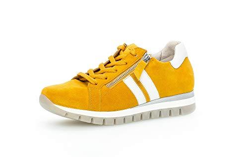 Gabor Damen Sneaker, Frauen Low-Top Sneaker,Comfort-Mehrweite,Reißverschluss,Optifit- Wechselfußbett, Freizeit leger Lady,Mango/Weiss,40 EU / 6.5 UK