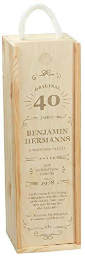 LAUBLUST Holzkiste für Weinflaschen 5 Stars Motiv - Personalisiert mit Individueller Wunsch-Gravur - 36x11x10 cm, Natur | Weinkiste mit Deckel & Trage-Seil - Geschenkverpackung | Wein-Aufbewahrung
