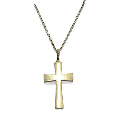 Never Say Never Cruz bizantina de Oro Amarillo Mate y Brillo de 18k con Cadena Forzada de 50cm Todo Oro 18k. Especial comunión