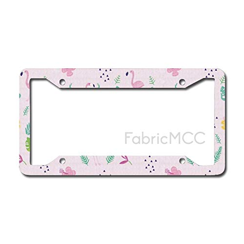 Dom576son License Plate Frame Flamingo Tropic Accents with Exotic Plant Animal Caribbean Vibes Childish Doodle, Baby Metal Tag Border US Size 12 x 6 Inches Auto License Plate Holder