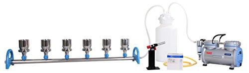 Vakuumfiltrationsset komplett mit Rocker-Laborpumpe, Verteiler MultiVac 600-MB (6 Stellen) und 6x Edelstahl-Filterhalter 100ml Ø47mm