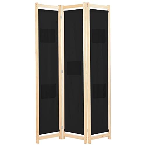 vidaXL Biombo Divisor de 3 Paneles de Tela Decoración Hogar Casa Jardín Bricolaje Salón Comedor Ambientes Habitaciones Separador 120x170x4 cm Negro