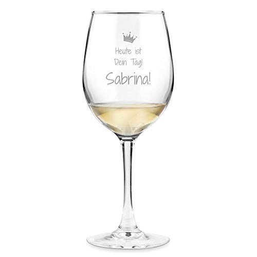 Murrano Weinglas mit Gravur 350 ml - personalisiert - Wein Glas für Rotwein Weißwein - Geschenk Geburtstag für Frauen Freundin - Dein Tag!