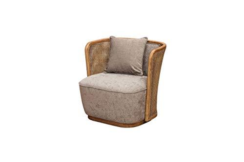 Chehoma - Sillón con cojín de Gabin | Bonita silla mixta de ratán y tejido