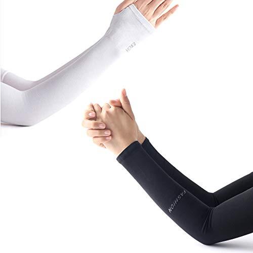 HQCM Zwei Paare Arm Ärmel, Arm Sleeve UV-Schutz der Armmanschette, atmungsaktiv und kühl, Männer und Frauen, rutschfest, zum Laufen, Radfahren, Fußball, Basketball, Golf, Wandern