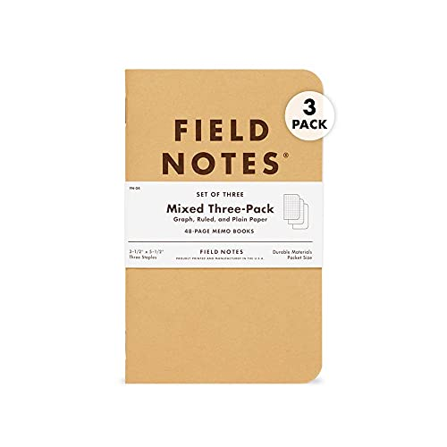 """Field Notes: Original Kraft 3-Pack - Mixed Paper (1 Graph, 1 Ruled, 1 Plain book) - 48 Pages - 3.5"""" x 5.5"""""""