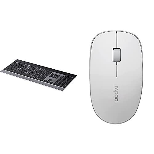 Rapoo E9270P kabellose Tastatur, 5 GHz Wireless via USB, flaches DE-Layout QWERTZ, schwarz/Silber & 3510 kabellose optische Maus mit 2,4 GHz Wireless-Verbindung, 1000 DPI Sensor, weiß