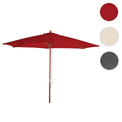 Mendler Sonnenschirm Florida, Gartenschirm Marktschirm, Ø 3m Polyester/Holz 6kg ~ Bordeaux