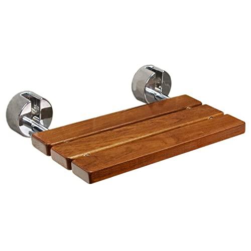Clevr 20' Teak Wood Modern Folding Shower Seat Bench,...
