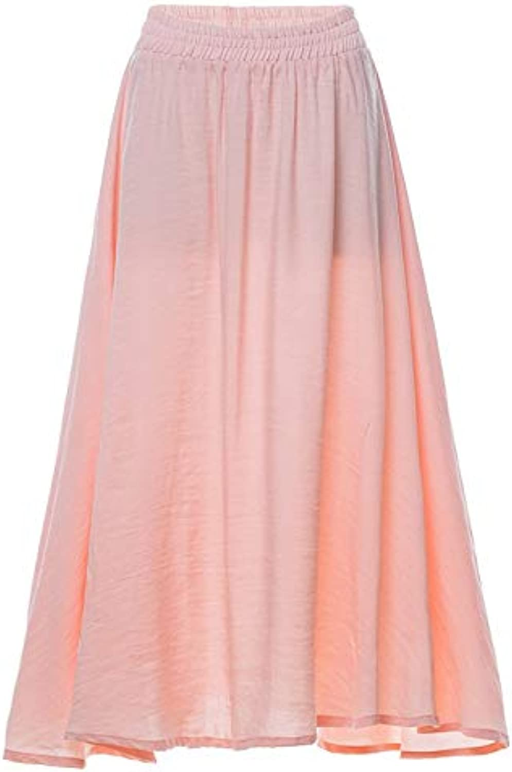 With Large Pleated Skirt and Long Skirt Solid color Casual Elastic Waist Cotton Skirt (color   orange, Size   XL)