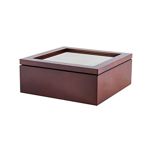 XIAMU Compartimento para Bolsitas de té, Cajas para infusiones 9 Compartimentos de Material de Madera, 9.05 x 9.05 x 3.54 Pulgadas (Roja)