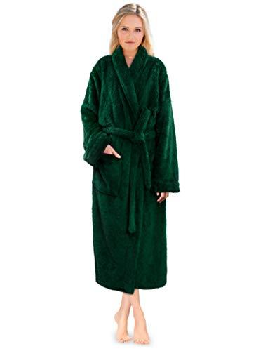 PAVILIA Premium Womens Plush Soft Robe Fluffy, Warm, Fleece Sherpa Shaggy Bathrobe (L/XL, Emerald Green)