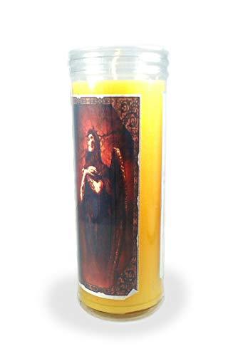 Velón esotérico Santa Muerte Amarilla- Tamaño 14 x 5,5 cm- Vela para el Dinero