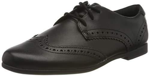 Clarks Scala Lace Y, Zapatos de Cordones Derby Mujer, Negro (Black Leather Black Leather), 38 EU