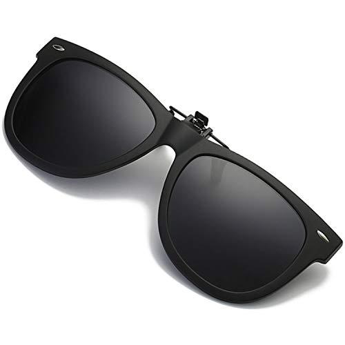 Polarized Clip-on Sunglasses UV 400 Protection Anti-Glare Sunglasses Over Prescription Glasses (Black)
