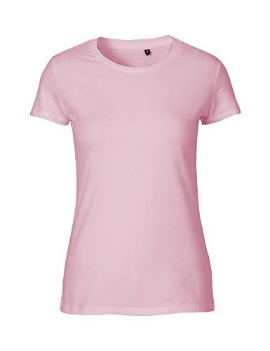 Green Cat Camiseta ajustada para mujer, 100% algodón orgánico. Certificado de comercio justo, Oeko-Tex y Ecolabel. rosa claro XS