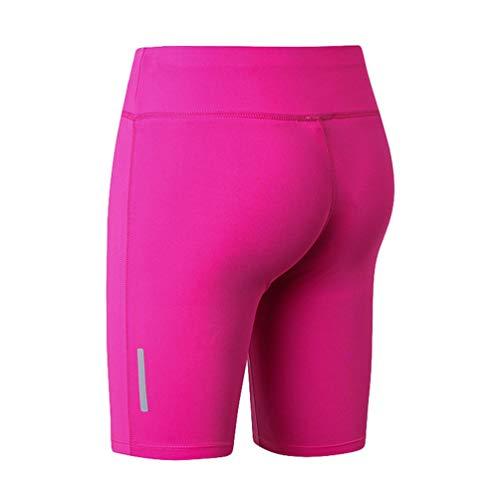 Kaiyei Leggings Cortos Talle Alto Mujer con Tira Reflectante, Mallas Gym Pantalones Gimnasio Deportivos Fitness Lifting-Cadera Running Leggins Compresion Short Rosa Rojo XL