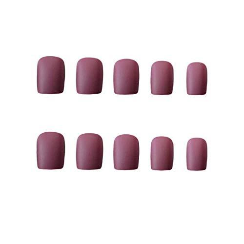 24 pcs Noble Violet Mat Manucure Accessoires Moyen Carré Givré Acrylique Nail Conseils Pleine Couverture pour Lady Fille Party Nails